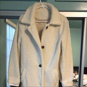 Jackets & Blazers - White Teddy Long Coat